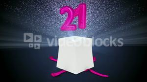Digital animation of birthday gift exploding and revealing number twenty one