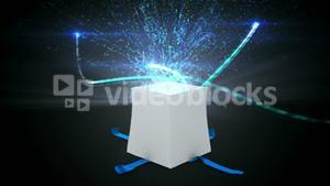Digital animation of birthday gift exploding and revealing technology concept