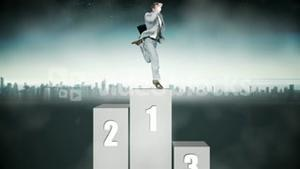 Businessman jumping on first step with city on background