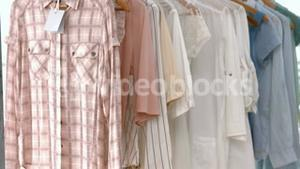 Shirts hanging in cloths shop