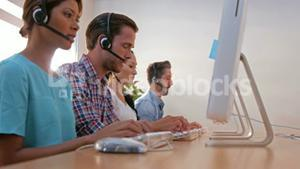 Casual business people working in call center