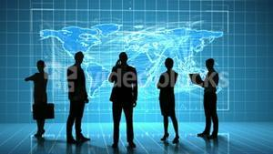 Business people in front of global business interface