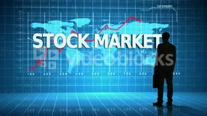 Businessman in front of global business interface with the word Stock Market