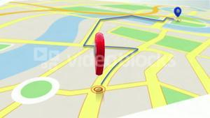 Red marker showing the way by zooming in on a map