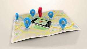 Red marker pointing on a mobile lying on a map surrounded by blue markers