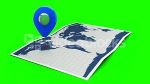 Blue pointer on a world map