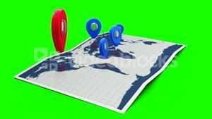 Red pointer on a world map surrounded by blue markers