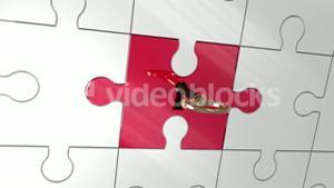 Key unlocking red piece of puzzle showing innovation