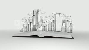 Book opening to show cityscape sketch