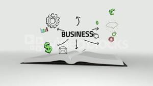 Book opening to show business brainstorm