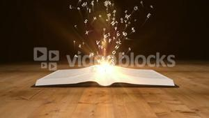 Book opening to flying golden letters