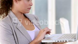 Pregnant businesswoman using her laptop