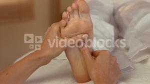 Woman enjoying a foot massage
