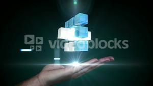 Businesswoman using tablet with holographic cubes