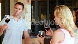 Sommelier and his customers doing wine tasting