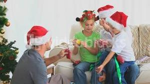 Family Christmas with crackers