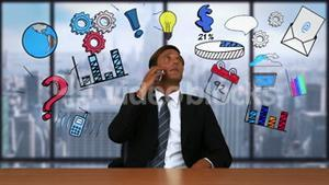 Businessman on a call with business doodles appearing around him
