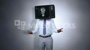 Businessman with tv on his head