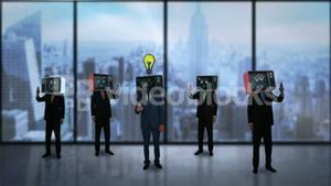 Businessmen with tv on his head