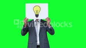 Businessman holding light bulb animation over face