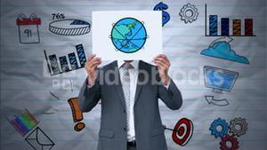 Businessman holding earth animation over face