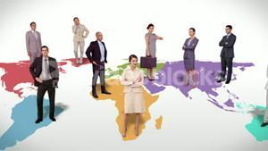 Business team standing on world map