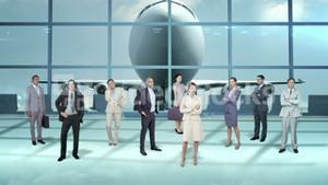 Business team standing in airport terminal