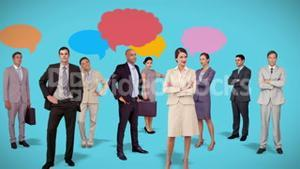 Business team standing with speech bubbles