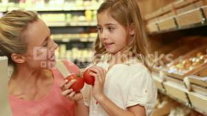 Smiling mother shopping with her two children