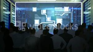 Business people watching tech interface on screen