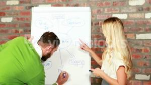 Casual business team brainstorming together