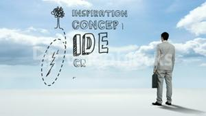 Businessman watching idea concept in the sky