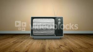 Old fashioned tv with static