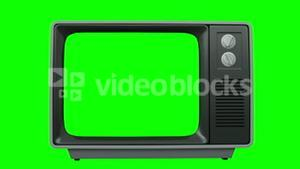 Old fashioned tv with green screen