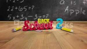 Back to school graphic falling in classroom