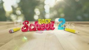 Back to school graphic falling with pencils