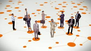 Business people standing on connecting lines