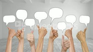 Speech bubbles appearing with many thumbs up