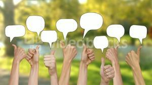 Many thumbs up against nature scene with speech bubbles