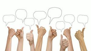 Many hands showing thumbs up with speech bubbles