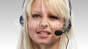 Woman on headset being positive