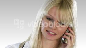 Attractive Blonde Woman on the phone