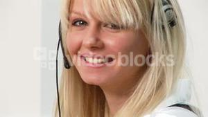 HD footage of a woman on a headset 2