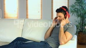 Man listening to music on his phone