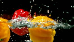 Peppers falling in water on black background