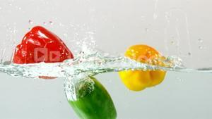 Peppers falling in water on white background