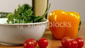 Salad being prepared on table