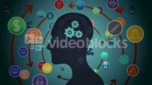 Thoughts appearing in brain with cogs