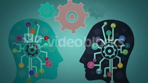Thoughts appearing with cogs in head
