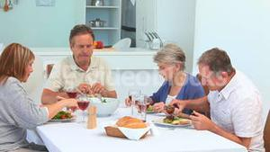 Elderly friends during the lunch time